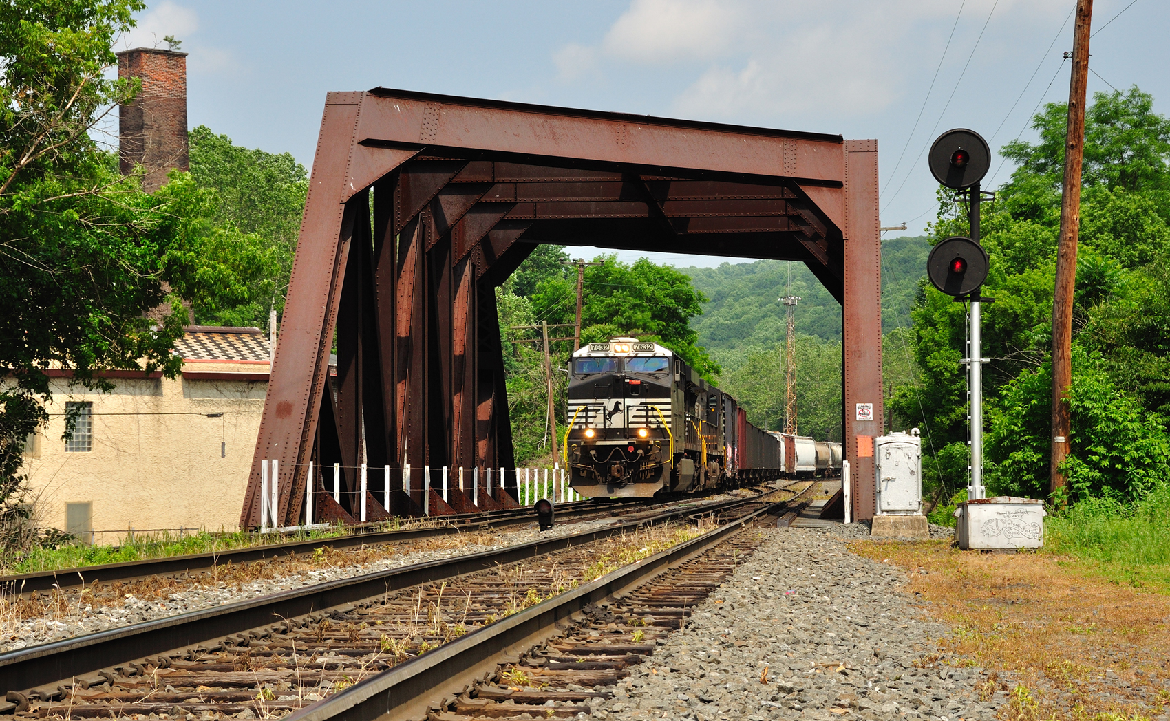 Norfolk Southern train finished doubling, crosses the Lehigh Canal