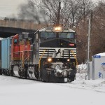 Gliding through the snow in a Norfolk Southern train