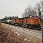 Burlington Northern Santa Fe units ready to head west