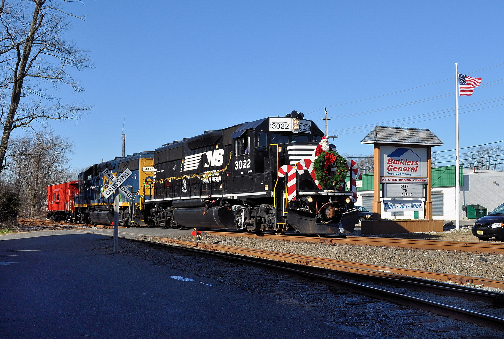 Conrail's Santa train en route to distribute toys at Christmas
