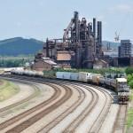 Dormant Bethlehem Steel mill backdrop for several tracks