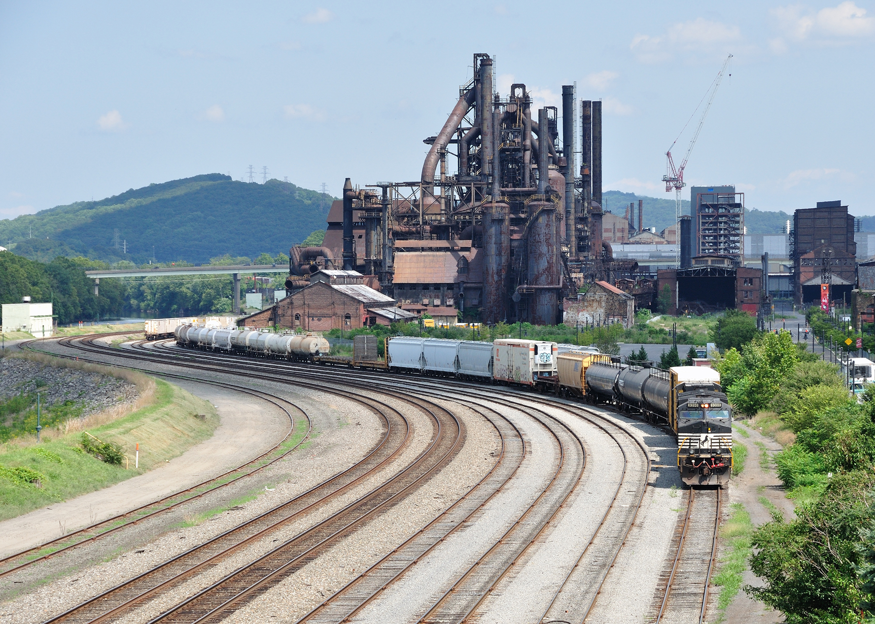 Dormant Bethlehem Steel mill backdrop for the many tracks of Norfolk Southern