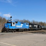 Two former Conrail units head for the Linden Industrial Track